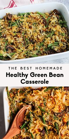The BEST homemade healthy green bean casserole made with fresh green beans, mushrooms and topped with homemade crunchy onions. Lightened up from traditional versions and perfect for the holidays! Healthy Green Bean Casserole, Healthy Green Beans, Healthy Vegetarian Casserole, Homemade Green Bean Casserole, Kitchen Recipes, Vegetarian Recipes, Healthy Recipes, Avocado Recipes, Diet Recipes
