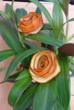 roses from orange peel