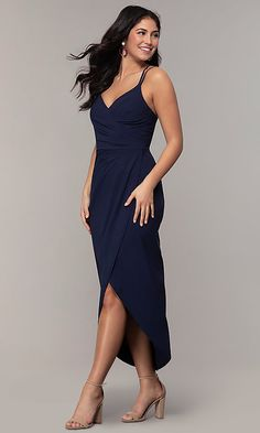 Shop midi-length navy prom dresses at PromGirl. Semi-formal blue dresses by Simply, v-neck midi-length dresses for prom, and faux-wrap navy blue satin dresses with ruched waistlines and tulip skirts. Navy Blue Party Dress, Navy Prom Dresses, Cocktail Bridesmaid Dresses, Satin Dresses, Sexy Dresses, Evening Dresses, Short Dresses, Fashion Dresses, Party Dresses