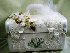 looks like the suitcases that I have that were my Mom's.  What a lovely Idea of how to dress them up and remember her by.