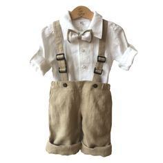 Ring bearer linen outfit Boys linen suit white beige by EcoEmi Wedding Outfits For Family Members, Costume En Lin, Boys Linen Suit, Ring Bearer Suit, White Linen Shirt, Roll Up Sleeves, Collar Shirts, Baby Boy Outfits, Christening