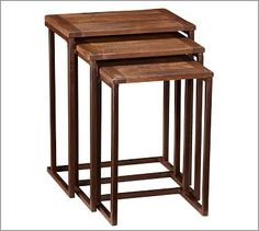"""Granger Nesting Side Tables #potterybarn Small Table: 13.5"""" wide x 10"""" deep x 19.5"""" high Medium Table: 15.5"""" wide x 11"""" deep x 22"""" high Large Table: 18'' wide x 12"""" deep x 23.5'' high Crafted of mango wood and iron. Set of 3, one of each size."""