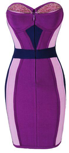 Omg!! College graduation party dress found! 'Celine' Crsytal Embellished Strapless Purple Bandage Dress