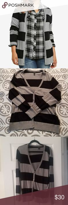 TORRID Grey and Black Cardigan Cozy, 100% cotton cardigan. Cardigan hits about the hips. Great for any outfit. torrid Sweaters Cardigans