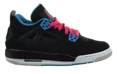 Jordan Girls Air Jordan 4 Retro (GS) Big Kids Girls Basketball Shoes Black/Vivid Pink/Dynamic Black/White
