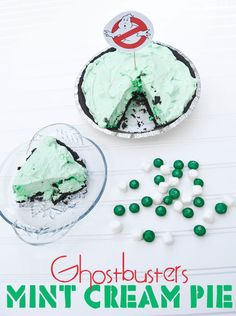 Ghostbusters Mint Cream Pie Recipe - Need a quick dessert? Check out this easy chocolate mint cream pie recipe that can be whipped together in under 15 minutes.