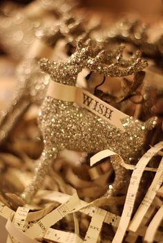 Glittery Reindeer and Wishes!   ZsaZsa Bellagio: Holiday Cheer- love to use revive old ornaments with glitter!