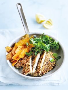 Dukkah-Crumbed chicken schnitzel from donna hay dinner recipes/simple meals Easy Meat Recipes, Chicken Recipes, Easy Meals, Dinner Recipes, Cooking Recipes, Healthy Recipes, Dessert Recipes, Simple Meals, Keto Recipes