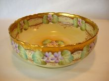 Awesome Limoges Porcelain Bowl ~ Hand Painted Stylized Violets ~ Pickard Decorated by Kriesche ~ Delinieres & Co ( D & Co) 1894-1900    www.timberhillsantiques.com