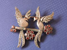 Your place to buy and sell all things handmade Garnet Stone, Marcasite, Love Birds, Home Decor Items, Birds In Flight, Gifts For Him, Vintage Items, Women Wear, Brooch