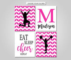 Cheerleading Wall Art Decor Download Printable - Cheer Wall Art Prints - Pink Black White Cheer Bedroom Decor - Monogram Name Print by KookyburraPrints on Etsy https://www.etsy.com/listing/487108922/cheerleading-wall-art-decor-download