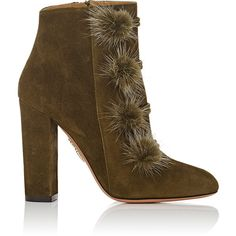 Aquazzura Women's Ulyana Suede Ankle Boots (13,225 MXN) ❤ liked on Polyvore featuring shoes, boots, ankle booties, dark green, suede ankle boots, high heel ankle booties, high heel booties, side zip boots and suede ankle booties