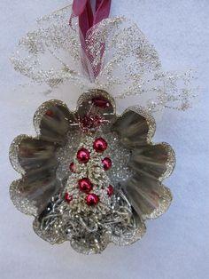 tin molds tree ornaments | Tart Mold Christmas Ornament, German Glass Glitter, Christmas Tree ...