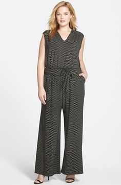 Sejour+Wide+Leg+V-Neck+Jumpsuit+(Plus+Size)+available+at+#Nordstrom