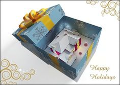 A giftwrapped house and Happy Holidays printed on glossy white card material, this design includes FREE customization.