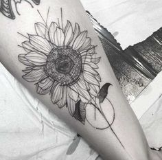 Antique Artistic Outline of Sunflower Design.