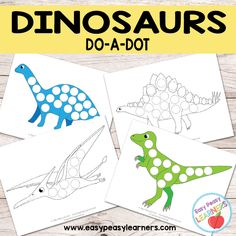 Free Dinosaurs Do a Dot Printables - Easy Peasy Learners Dinosaur Theme Preschool, Dinosaur Activities, Dinosaur Crafts, Autism Activities, Preschool Themes, Weather Activities, Learning Resources, Toddler Activities, Dot To Dot Printables