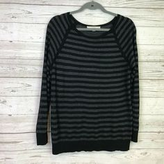 db438d9cb4e751 Loft Large striped knit top gray black long sleeve semi-sheer stretch  causal #fashion #clothing #shoes #accessories #womensclothing #tops (ebay  link)