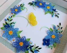 Blue wreath with lemon butterfly #quilling #flowers #paperflowers