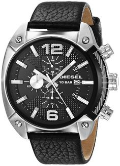 Shop for Diesel Men's Black Leather Quartz Watch. Get free delivery On EVERYTHING* Overstock - Your Online Watches Store! Black Leather Watch, Mens Watches Leather, Leather Men, Brown Leather, Diesel Watches For Men, Online Watch Store, Watch Sale, Stainless Steel Watch, Casio Watch