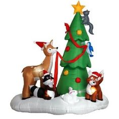 6 FOOT Woodland Friends Illuminated Inflatable Christmas Decoration