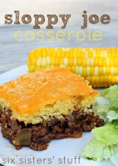 Cornbread Sloppy Joe Casserole Recipe – Six Sisters' Stuff Taco Casserole, Sloppy Joe Casserole, Casserole Dishes, Casserole Recipes, Cowboy Casserole, Cornbread Casserole, Cornbread Muffins, Cornbread Mix, Think Food