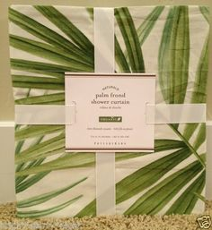 Pottery Barn Palm Frond Shower Curtain New Bath Summer Oasis Leaves Palm Tree | eBay