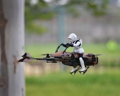 """DIY quadcopter """"Star Wars"""" Speeder Bike takes flight! Watch as this Imperial Speeder Bike made from a first-person-video quadcopter and a vintage """"Star Wars"""" toy flies through the woods."""