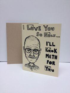 Walter White : Breaking Bad  - Screen Printed Card. via Etsy.