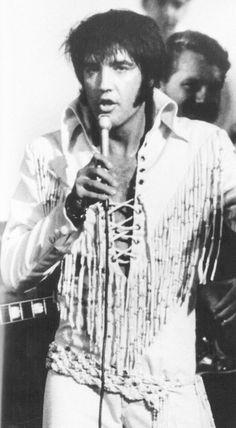 Elvis Presley performing at International Hotel, Las Vegas, c. 1970.