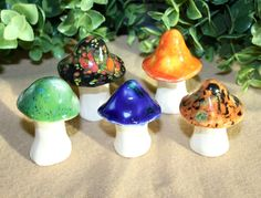 Fairy mushrooms -Five hand crafted ceramic toadstools - T57 by FabulousFungi on Etsy