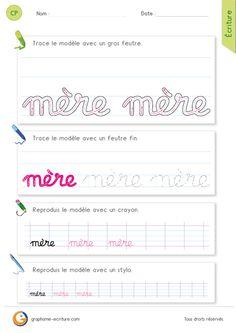"""Apprendre à Écrire le mot mère en minuscules cursives - La lettre m dans """"mère""""."""