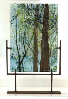 Misty Forest, kilnformed glass by Alice Benvie Gebhart, East Greenwich, Rhode Island, USA