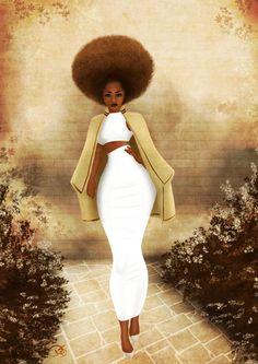 Melenin Queen with a Afro Black Love Art, Black Girl Art, My Black Is Beautiful, Black Girl Magic, Art Girl, Black Girls, Black Women, Natural Hair Art, Natural Hair Styles