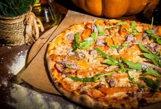 Pizza with pumpkin and duck farm # Foods for Halloween