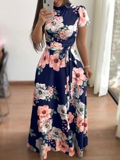 Rogi Summer Women Maxi Dress Floral Print Boho Beach Dresses Female Turtleneck Party Long Dress Plus Size Vestidos Verano 2019 Floral Print Maxi Dress, Boho Dress, Bohemian Dresses, Dress Casual, Long Casual Dresses, Dress Long, Floral Sundress, Casual Outfits, Dress Outfits
