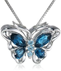 Sterling Silver 925 Marquise Blue Topaz Hexagon Floral Butterfly Locket Pendant