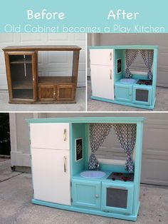 That old entertainment center makes the perfect kid size kitchen! Transform that… That old entertainment center makes the perfect kid size kitchen! Transform that old, at one point pricey cabinet into an awesome play place for the kids! Diy Kids Furniture, Repurposed Furniture, Kitchen Furniture, Furniture Makeover, Furniture Stores, Bedroom Furniture, Furniture Outlet, Furniture Cleaner, Wooden Bedroom