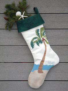 Coastal Christmas Hand-Painted Tropical Palm Stocking