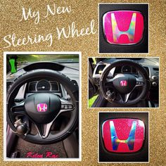 Honda steering wheel My glitzy and pink steering wheel! Colors on emblem are metallic pink and oil spill Honda Civic Car, Honda Civic Hybrid, Honda Civic Accessories, Car Accessories Diy, Honda Accord, Girly Car, Honda Pilot, Car Hacks, Cute Cars