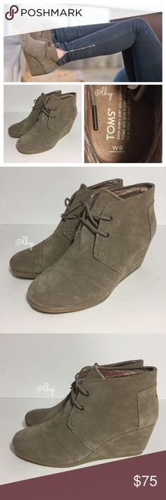 """TOMS DESERT WEDGE BOOTIES SZ 9 Authentic TOMS Desert Wedge Booties in taupe suede. Lace up style. Approx 2.5"""" Wedge heel. 3.25"""" shaft height. Suede upper, textile lining, rubber sole. Box not included. Excellent like new condition, no flaws. Please be familiar with sizing of TOMS footwear. ❌❌NO TRADES NO PP NO EXCEPTIONS❌❌ TOMS Shoes Ankle Boots & Booties"""