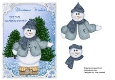 Christmas card for Special Grandaughter with snowman decoupage on Craftsuprint - View Now!