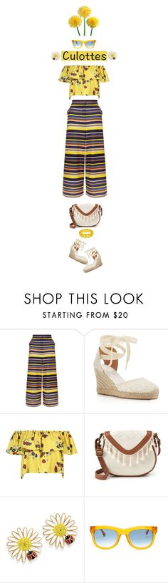 """good morning sunshine, the world says hello"" by collagette ❤ liked on Polyvore featuring New Look, Soludos, WithChic, T-shirt & Jeans, Natures Jewelry, Elizabeth and James, Marc by Marc Jacobs, TrickyTrend, affordable and culottes"
