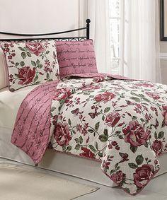 Look at this #zulilyfind! Red Bella Reversible Quilt Set #zulilyfinds
