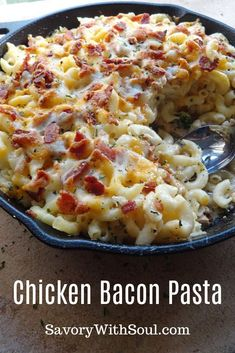 This chicken and bacon pasta bake includes tender chicken breast, lots of smoky bacon bits, lots of cheese, and of course pasta to make it all complete. bake Chicken and Bacon Pasta Bake - Savory With Soul Cheesy Recipes, Easy Pasta Recipes, Easy Dinner Recipes, Cooking Recipes, Dinner Ideas, Easy Pasta Bake, Chicken Recipes For Dinner, Pasta Ideas, Dip Recipes