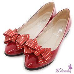 BLenna甜美氣質2way鉚釘蝴蝶結漆皮跟鞋*紅