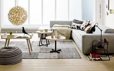 Like the pillows, bean bag, & rug.from Daily Dream Decor Living Room Inspiration, Home Decor Inspiration, New Living Room, Home And Living, Modern Scandinavian Interior, Turbulence Deco, Living Styles, Beautiful Living Rooms, Dream Decor