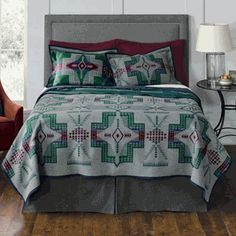 Beautiful blue, green, and maroon Conejos blanket from Pendleton Blankets. This would be beautiful in a nature inspired lodge or western home.   Stylish Western Home Decorating