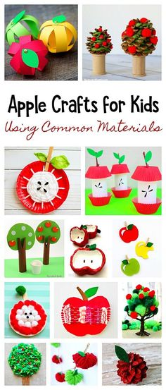 40 Apple Crafts and Apple Tree Crafts Using Common Materials from Around the House: Including paper plate apple crafts, cardboard tube apple crafts, apples made from felt, pinecone apple crafts and more! Perfect to do with preschool, kindergarten and on u