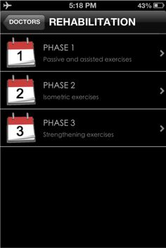 iShoulder app: Rehabilitation- describes the three phases of shoulder rehabilitation.